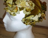 sale 20% off all vintage hats ... GREEN Velvet FLAPPER Floral Cap HEADPIECE So  Lovely Vintage ...