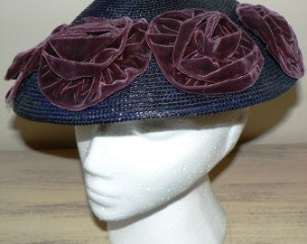 sale 20% off all vintage hats ... Navy Burgundy Velvet KARO VINTAGE HAT Charm ...