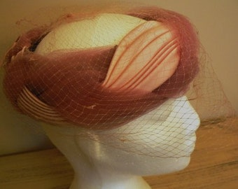 sale 20% off all vintage hats  ... PRETTY in PINK ribbon wrapped Netting lovely Vintage ...