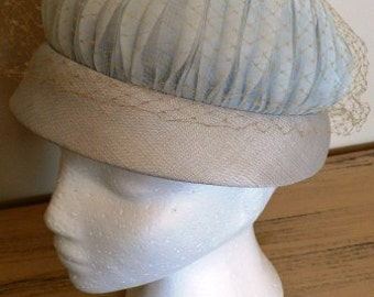 sale 20% off all vintage hats ... BABY BLUE netted PILL Box  Netting lovely Vintage ...