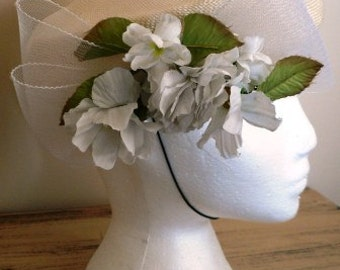 sale 20% off all vintage hats ... Sweet CREAM  STRAW and FLORAL Vintage Hat Charm ...