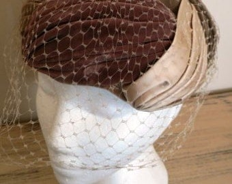 sale 20% off all vintage hats ... 3 TONED Velvet Satin PILL BOX Veil front  lovely Vintage ...
