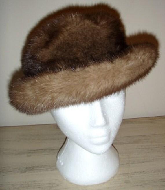 vintage fur hat ... Antique fabulous Canadian MINK FUR HAT ..