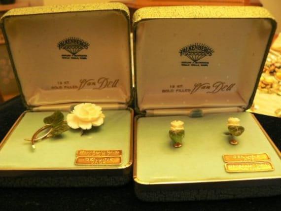 vintage jewels ...  IVORY JADE original Box Set BROOCH and Earrings Van Dell  ...