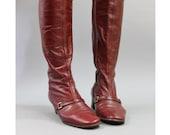 1960s Oxblood Mod Stacked Wood Heel Zip Boots - 7.5