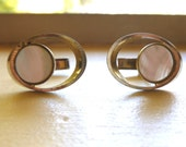 Vintage Mens Cuff Links Gold Mother of Pearl 1970s