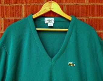 SALE Vintage Mens Sweater Lacoste Izod V-Neck Teal 1980s Large