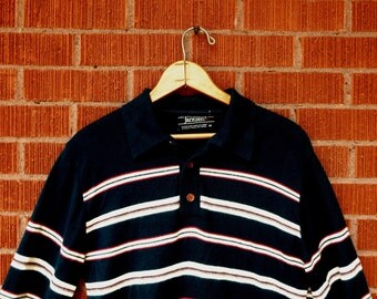 SALE Vintage Mens Polo Long Sleeve 1970s Striped Jantzen Medium