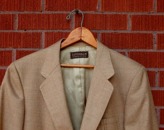 SALE - Vintage Mens Jacket Linen Wool Lanvin 1970s 46 48