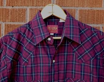 SALE Vintage Mens Pearl Snap Western Plains Small Short Sleeve 1980s Maroon
