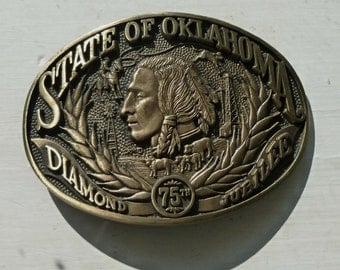 SALE - Vintage Brass Belt Buckle Indian Oklahoma 75th Diamond Jubilee 1980s