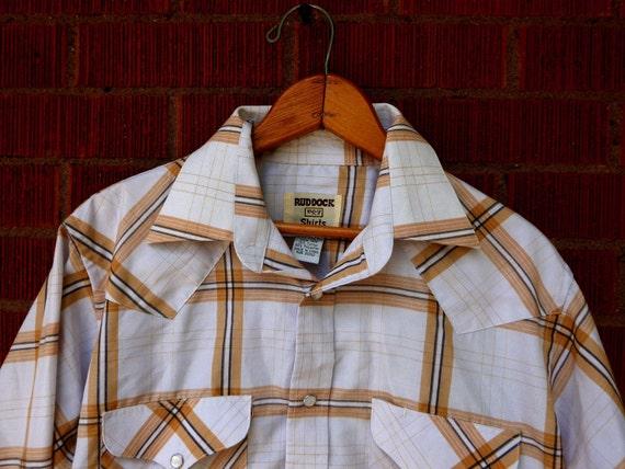 SALE - Vintage Mens Pearl Snap Western Ruddock 1980s Medium 15.5 35