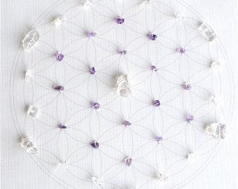WALL ART  Feng Shui  Healing Crystal Grid (Flower of Life Sacred Geometry) Lightworker Amethyst