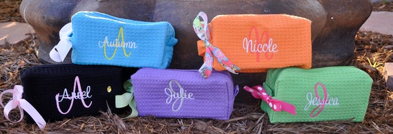 Personalized Bags Small Waffle Weave Cosmetic Bags Set of 6