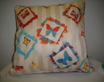 Hand Painted Butterfly Accent Pillow, Red, Blues, Yellow, Orange, Brushstrokes Over Cream Stripes, Specialty Pillow By Pillowinno