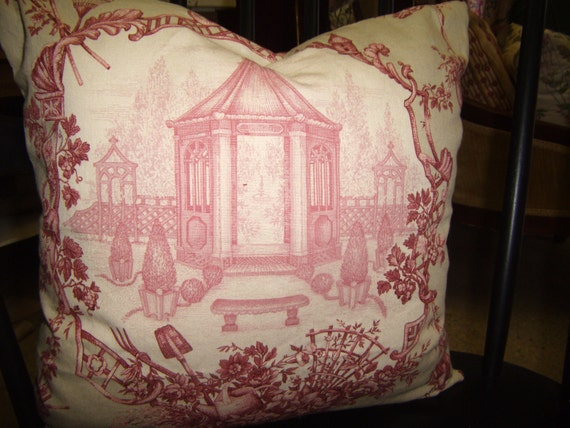 Rose Pink Vintage Toile Over Light Tan Throw Pillow