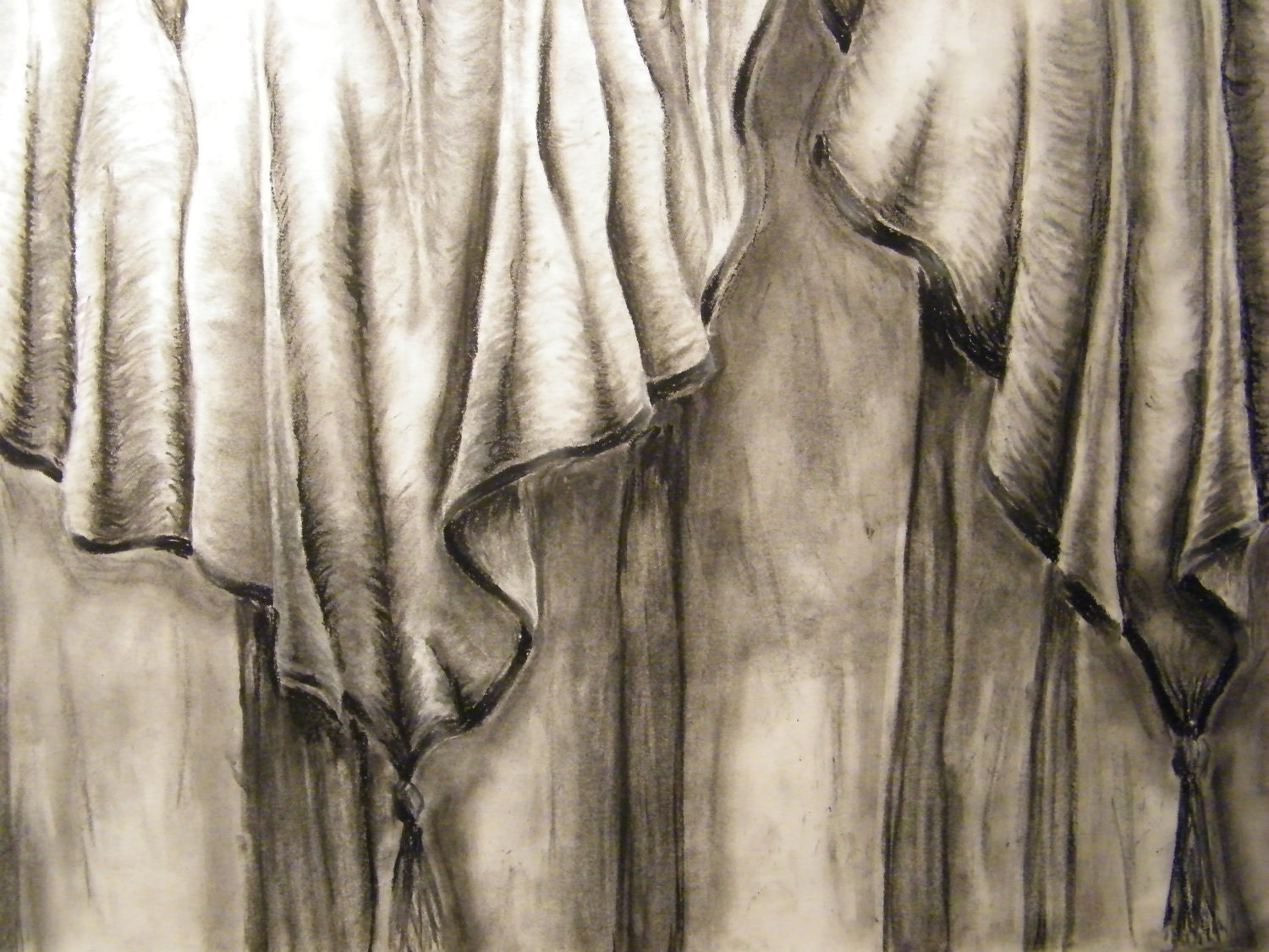 Charcoal Curtain Drawing Fabric Drapes Study by paintbylayers