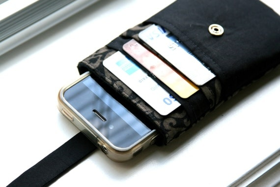 iPhone wallet / iPhone 5 / iPhone Sleeve / iPhone Case / iPhone 4s - Black and Grey Damask
