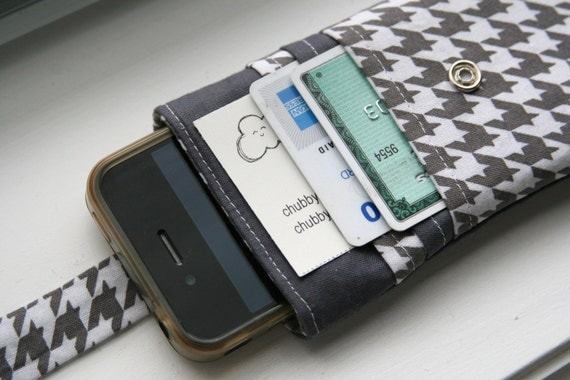 iPhone wallet / iPhone Sleeve / iPhone Case / iPhone 5 / iPhone 4s - Houndstooth