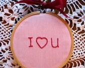 Valentine Hoop Art I Love You