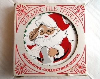 Vintage Santa and Christmas Tree Trivets, Coasters