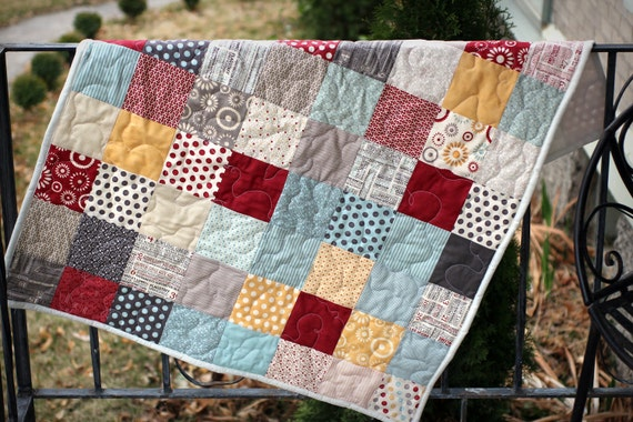Handmade Designer Fabric Baby Quilt - Hometown - Ready To Ship