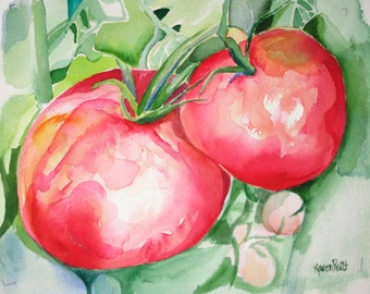 Tomatoes 1 watercolor Giclee Print 8x10  No Mat