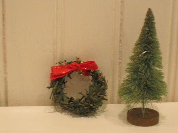 Doll House Christmas Tree and Christmas Wreath
