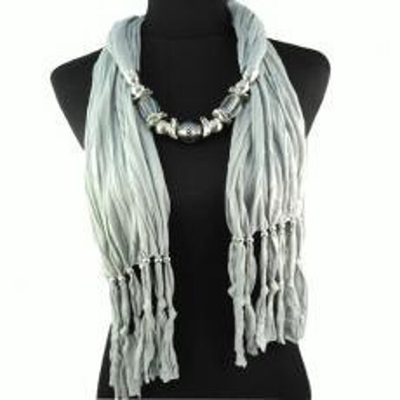 Scarf. Jewelry. Necklace.  Pendant. Gray. Accessories. Silver. Beaded