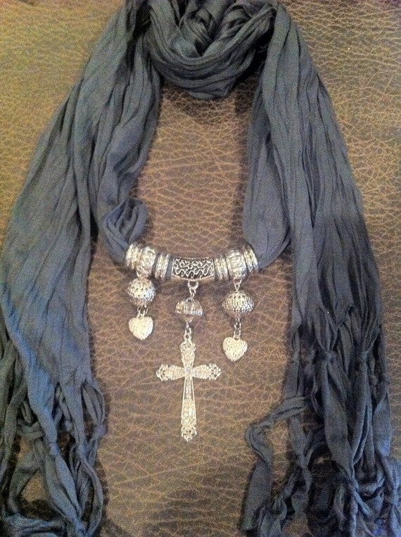 Scarf. Jewelry. Necklace. Cross. Pendant. Gray. Silver. Accessories. Rhinestones.