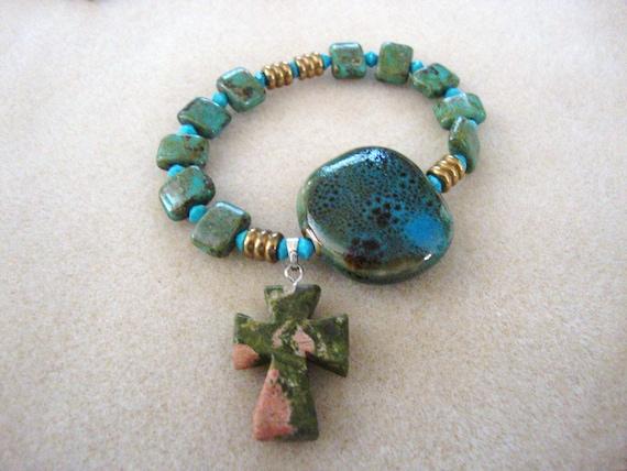 Speckled Green Ceramic Rosary Bracelet with Ceramic Cross