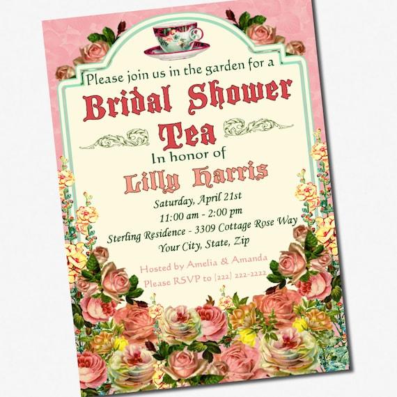 Tea Party Bridal Shower Invitation Custom 5 x 7 Printable Digital File