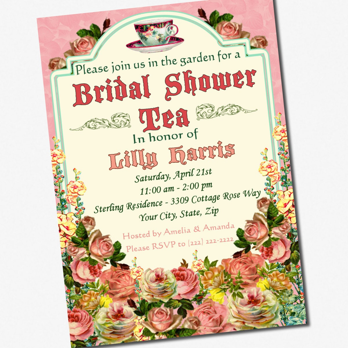 Tea Party Bridal Shower Invitation Custom 5 x 7 by ...
