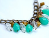 Teal, Clear, Yellow and Amber Cluster Necklace