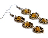 Triple-Braided Earrings with Amber/Yellow Beads