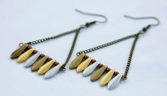 Mixed Metal Triangle Earrings