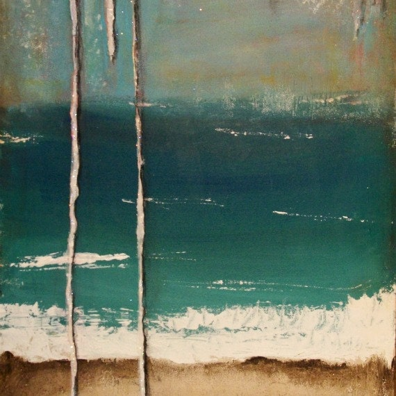 Original Painting 12x24 Abstract Seascape Hope