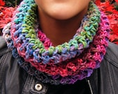 Multicoloured Crochet Cowl in Wool and Silk