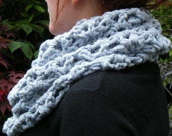 Pale Denim Snood Crocheted in Big Soft Super Chunky Yarn