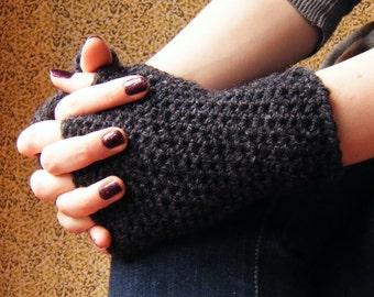 Gunmetal Grey Fingerless Gloves Crochet Texting Half Mittens Hamdwarmers