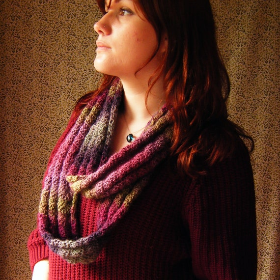 SALE Crochet Neck Cowl Infinity Scarf - Pinks and Purples