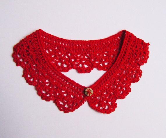 Red Crochet Lace Collar Peter Pan Cotton Detachable Neck Accessory