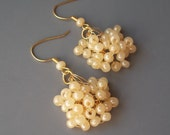 Cluster Style Ivory Pearl Wedding Earrings, Designer, Jewelry, Retro, Vintage, BoHo, Crocheted, 24K Gold Plated Wire