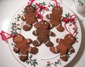 Three Hand Carved Gingerbread Man Christmas Ornament