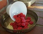 Vintage Buttons Lot Red Buttons for Crafts Sewing Supplies 50 Buttons