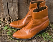 Amazing Caramel Leather Ankle High Cowboy Boots Unisex Size 9 Women / 7.5 Men