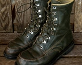 Great Looking Vintage Green Leather Work Lumberjack Hunting Irish Setter Style Lace-up Boots Size 11 Womens, 9.5 Mens