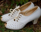 An Antique Wedding - 1930's Bone White Perforated Leather Heels With Open Toe and Ribbon Laces Size 7 Women'ss
