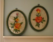 Pair of Vintage Oval Embroidered Wall Hangings