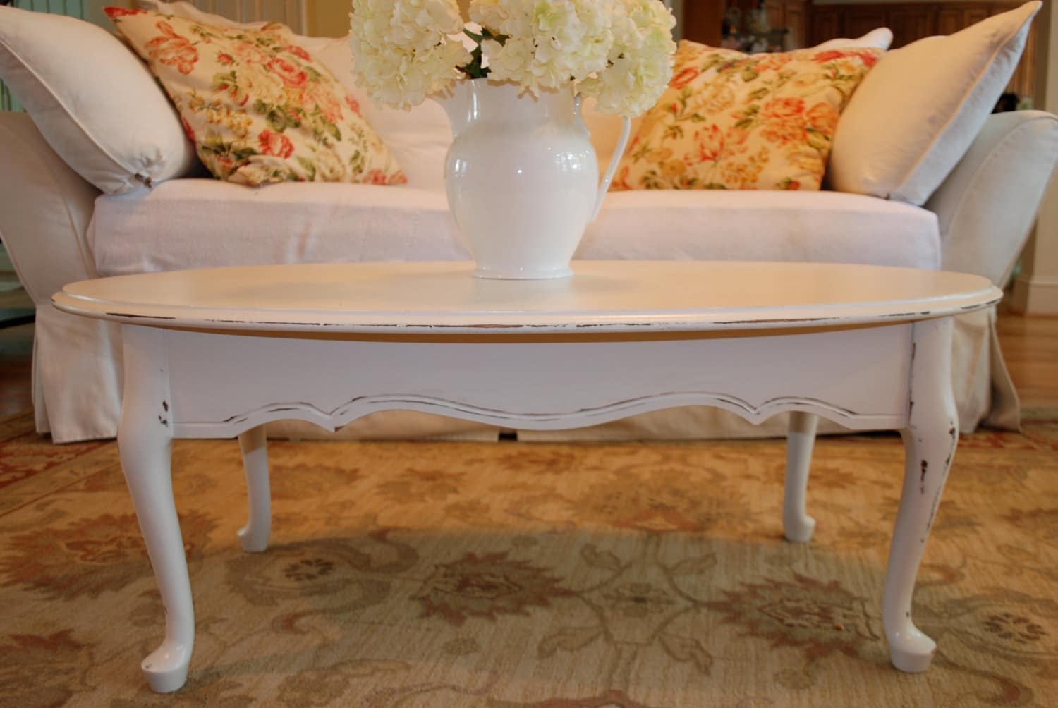 Queen Anne Style Antique White Distressed Coffee Table